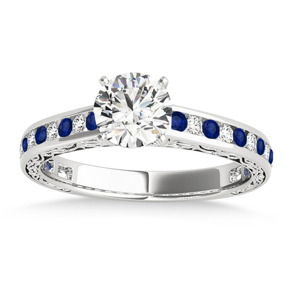 Blue Sapphire & Diamond Channel Set Engagement Ring Platinum (0.42ct)