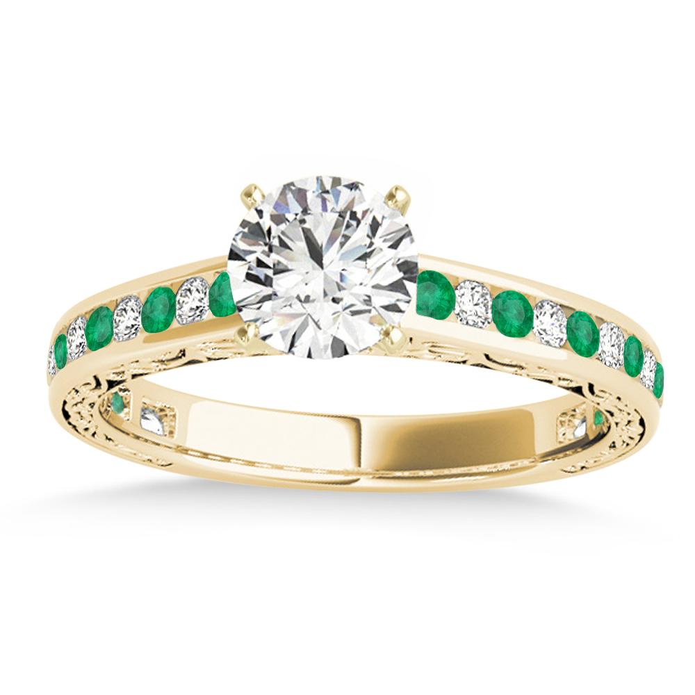 Emerald & Diamond Channel Set Engagement Ring 18k Yellow Gold (0.42ct)
