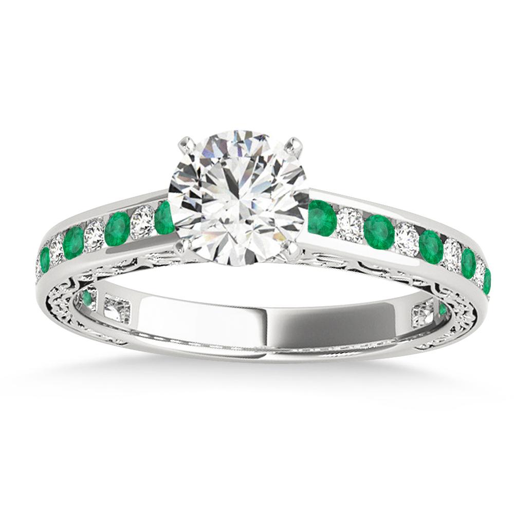 Emerald & Diamond Channel Set Engagement Ring Palladium (0.42ct)