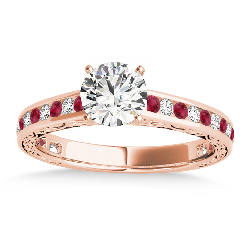 Ruby & Diamond Channel Set Engagement Ring 14k Rose Gold (0.42ct)