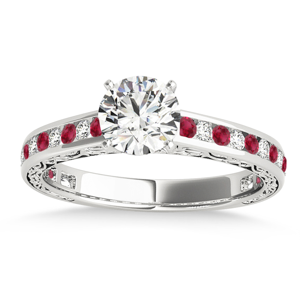 Ruby & Diamond Channel Set Engagement Ring 18k White Gold (0.42ct)