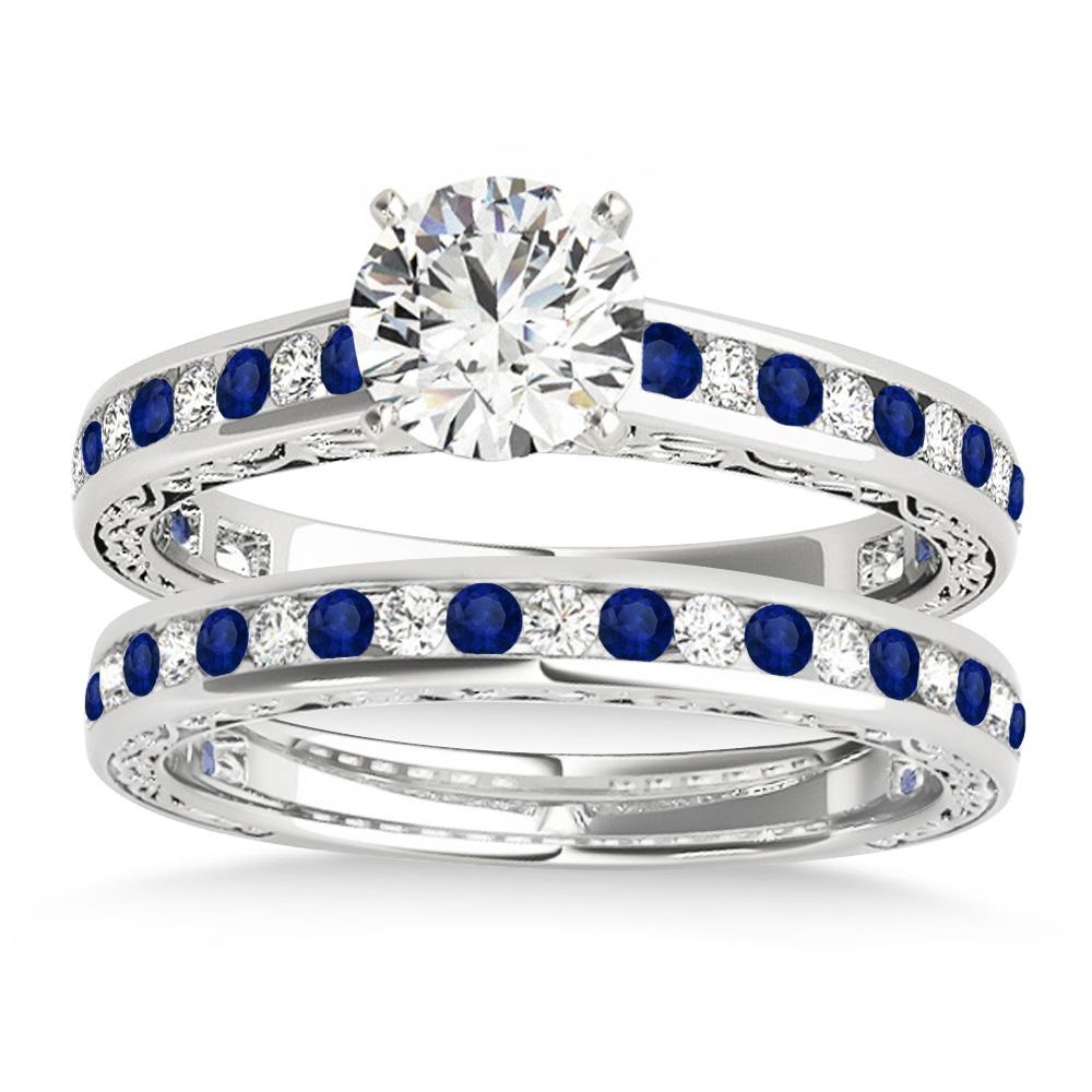 Blue Sapphire & Diamond Twisted Bridal Set 14k White Gold (0.87ct)