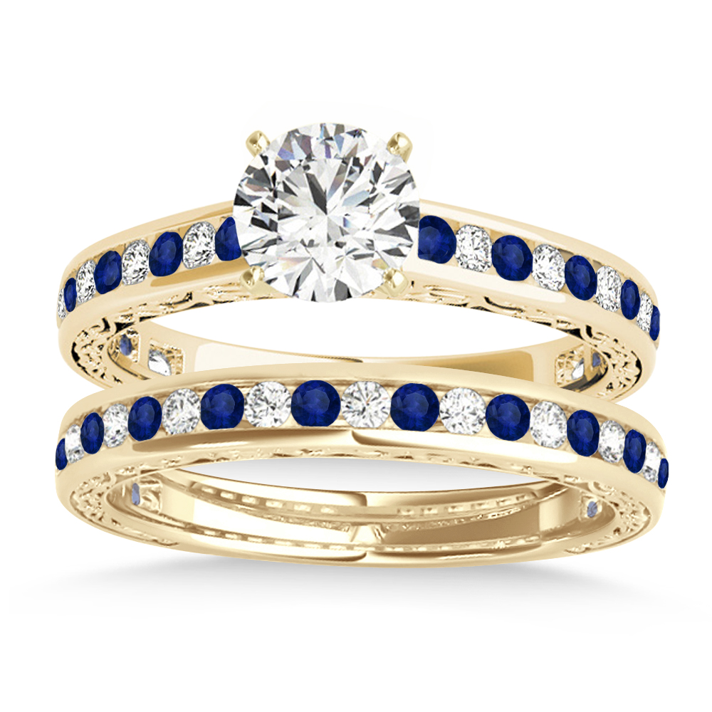 Blue Sapphire & Diamond Twisted Bridal Set 14k Yellow Gold (0.87ct)