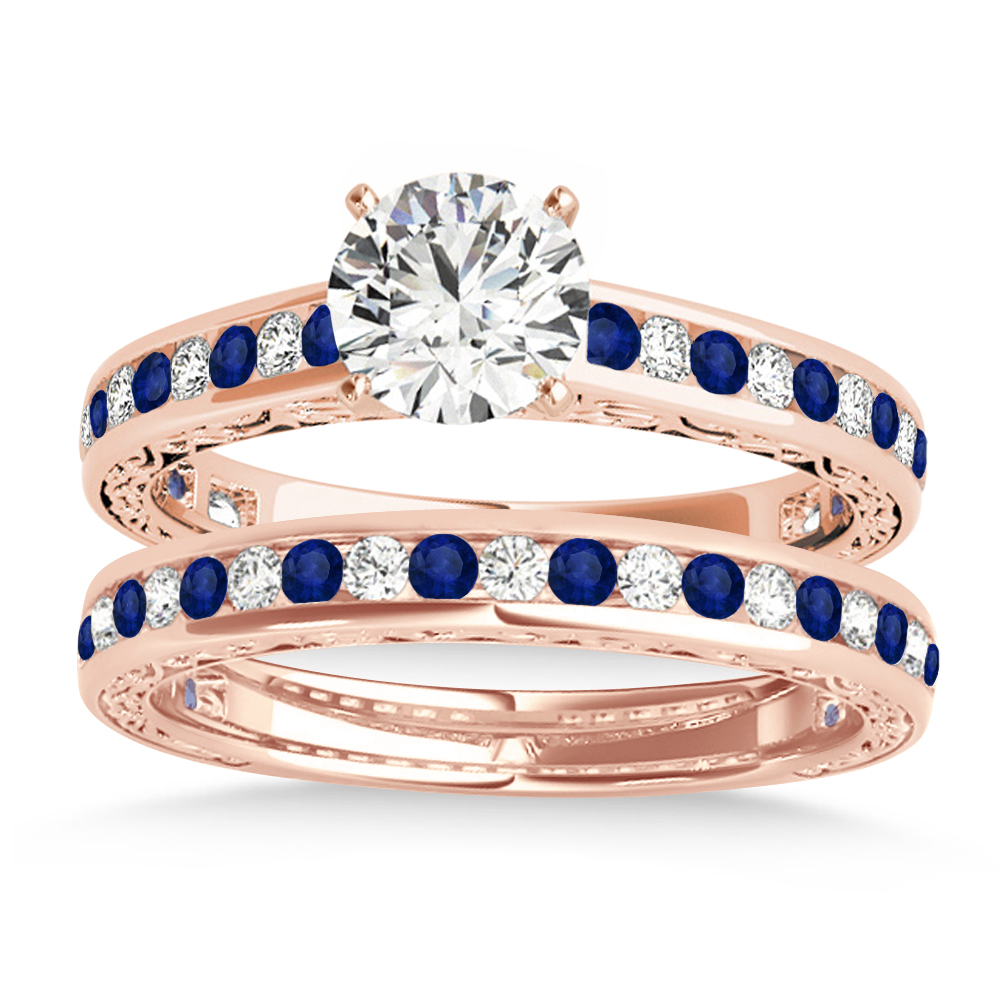 Blue Sapphire & Diamond Twisted Bridal Set 18k Rose Gold (0.87ct)