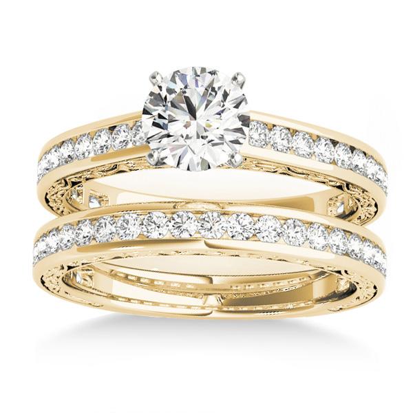 Diamond Twisted  Bridal Set 14k Yellow Gold (0.87ct)