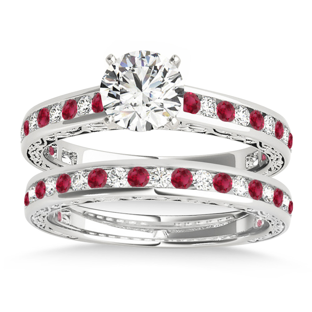 Ruby & Diamond Twisted  Bridal Set Platinum (0.87ct)