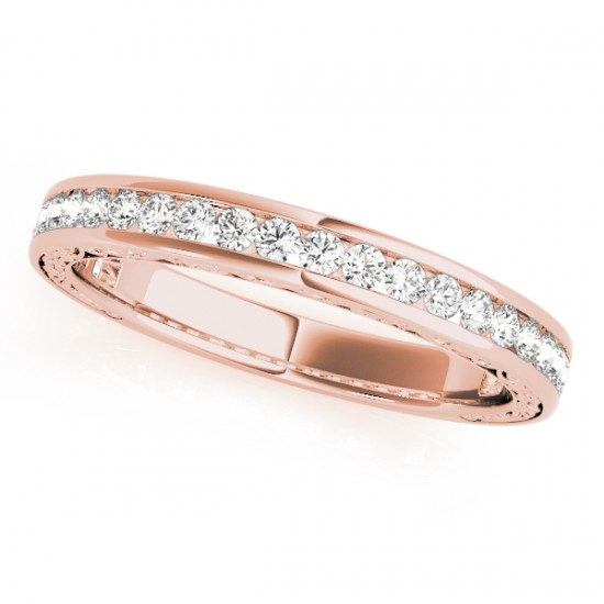 Diamond Channel Set Wedding Band 18k Rose Gold (0.45ct)
