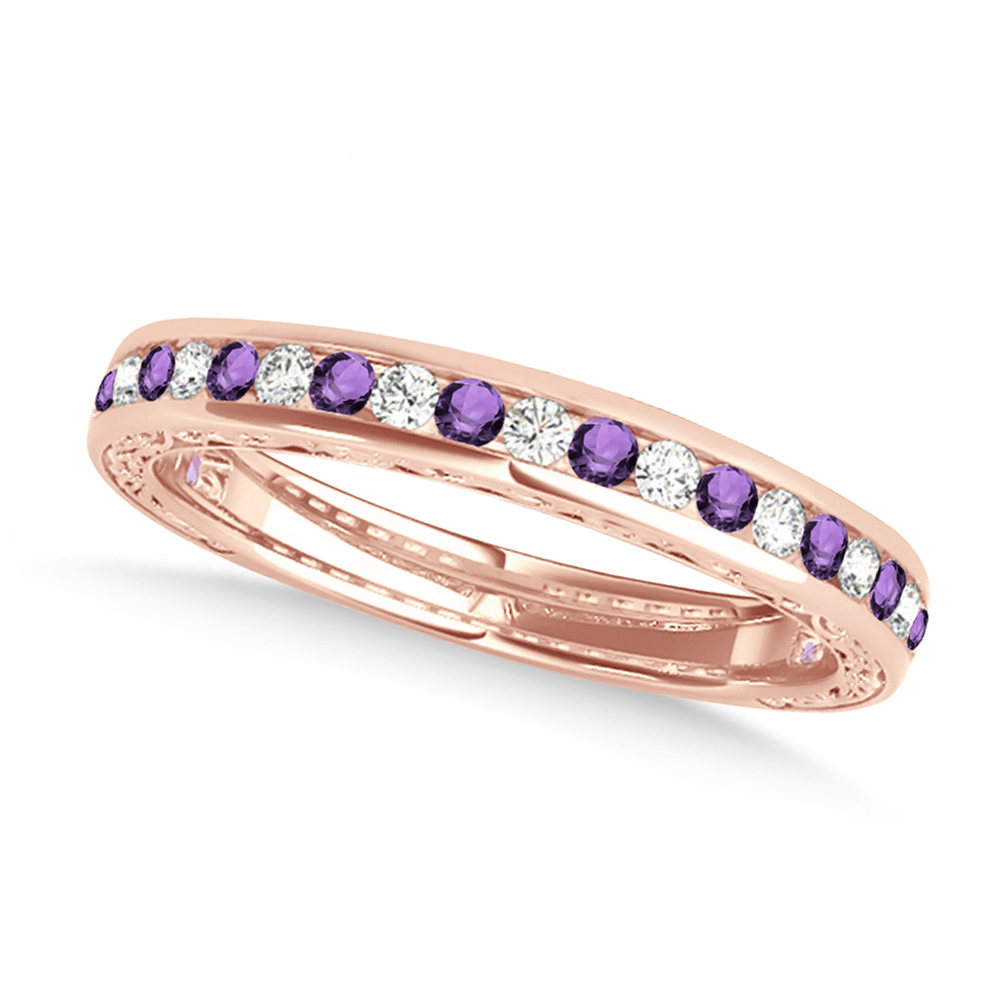 Diamond and Amethyst Channel Set Wedding Band 14k Rose Gold (0.45ct)