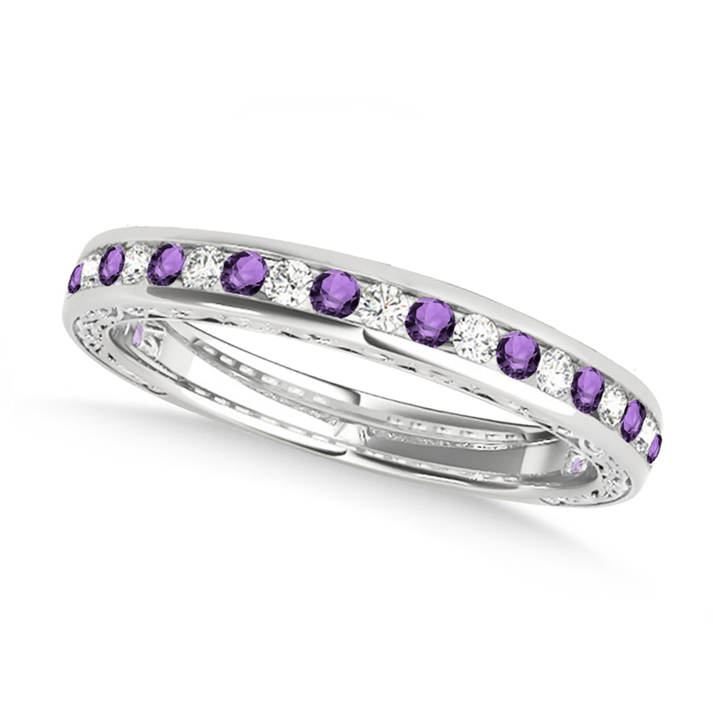 Diamond and Amethyst Channel Set Wedding Band 14k White Gold (0.45ct)