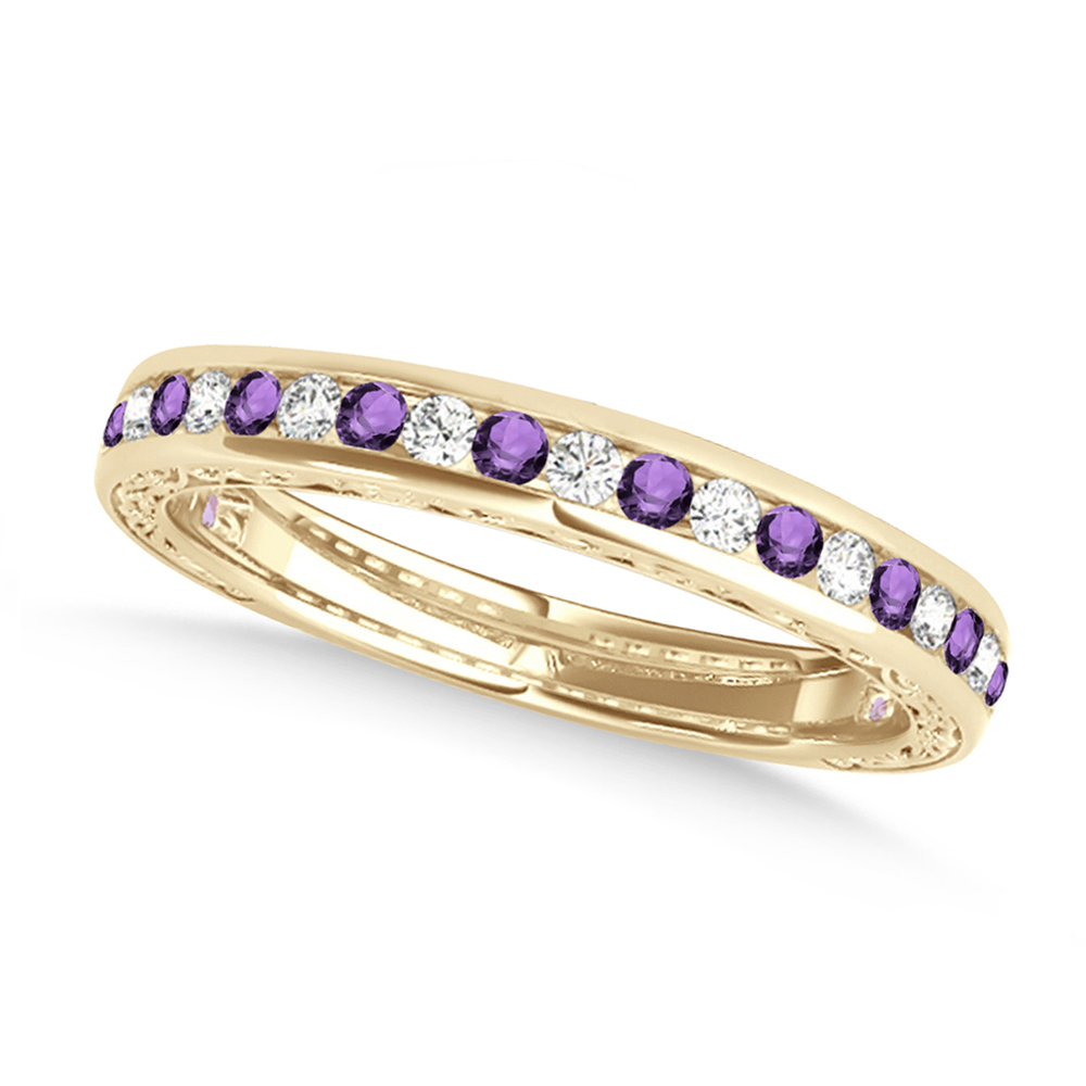 Diamond and Amethyst Channel Set Wedding Band 18k Yellow Gold (0.45ct)