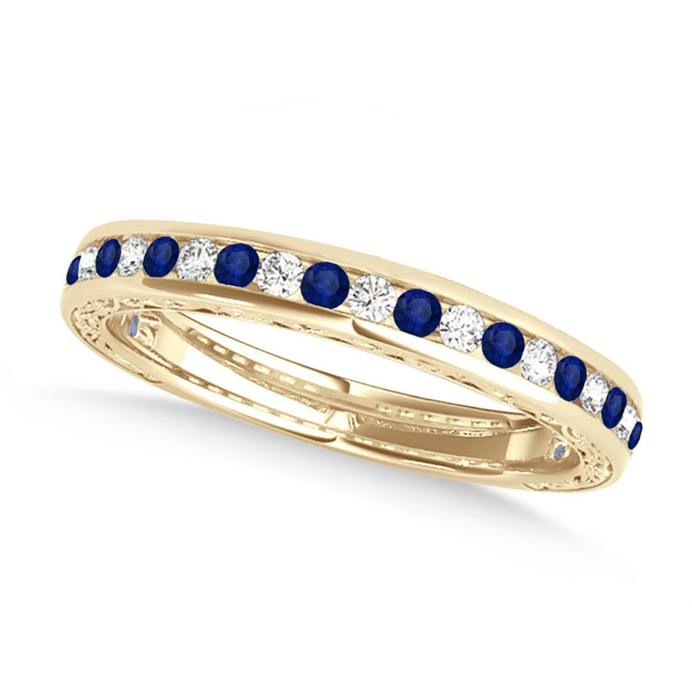 Diamond and Blue Sapphire Channel Set Wedding Band 18k Yellow Gold (0.45ct)
