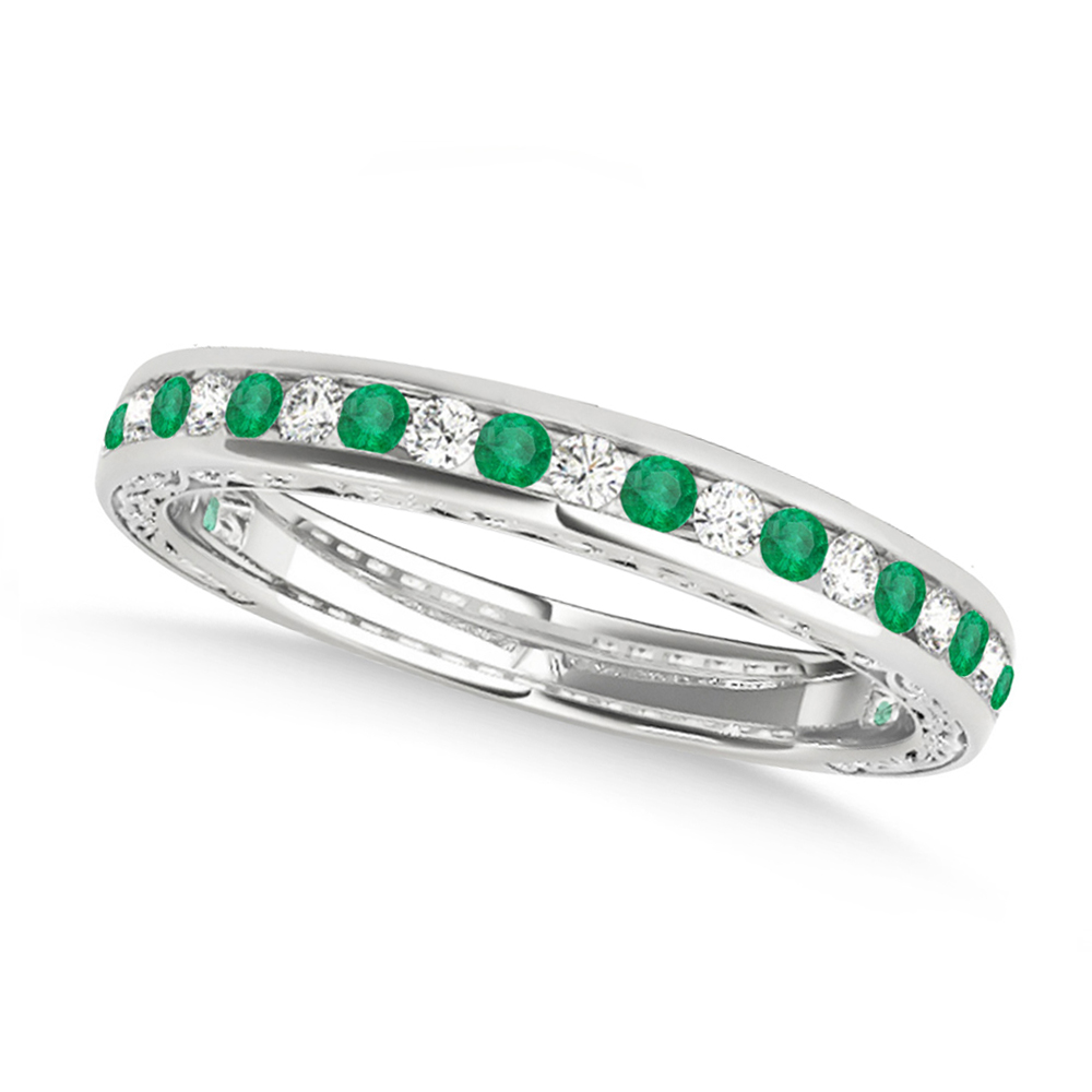 Diamond and Emerald Channel Set Wedding Band Palladium (0.45ct)