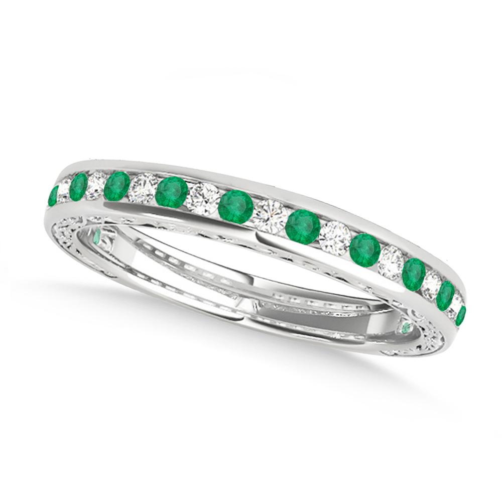 Diamond and Emerald Channel Set Wedding Band Platinum (0.45ct)