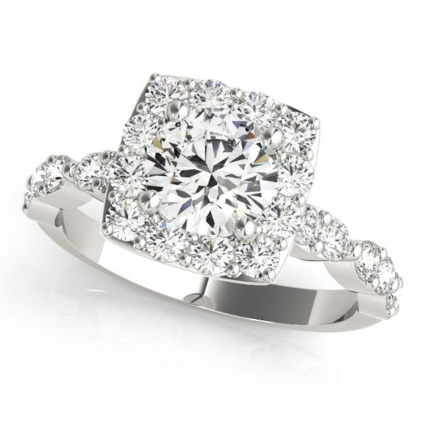 Diamond Sidestone Square Halo Engagement Ring 14k White Gold (1.72ct)