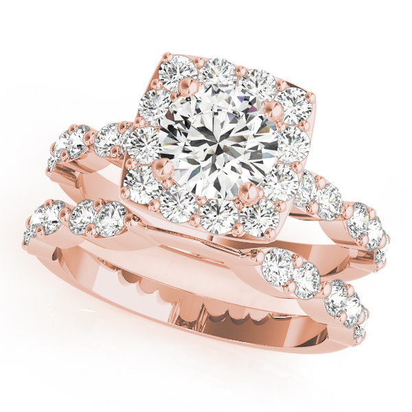 Diamond Sidestone Square Halo Bridal Set 18k Rose Gold 2.14ct