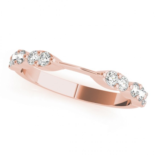 Diamond Prong Wedding Band 18k Rose Gold (0.42ct)