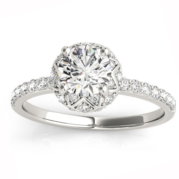 Diamond Accented Halo Engagement Ring Setting 14K White Gold (0.24ct)