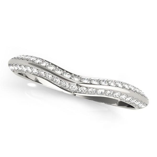 Diamond Contoured Wedding Band 18k White Gold (0.20ct)