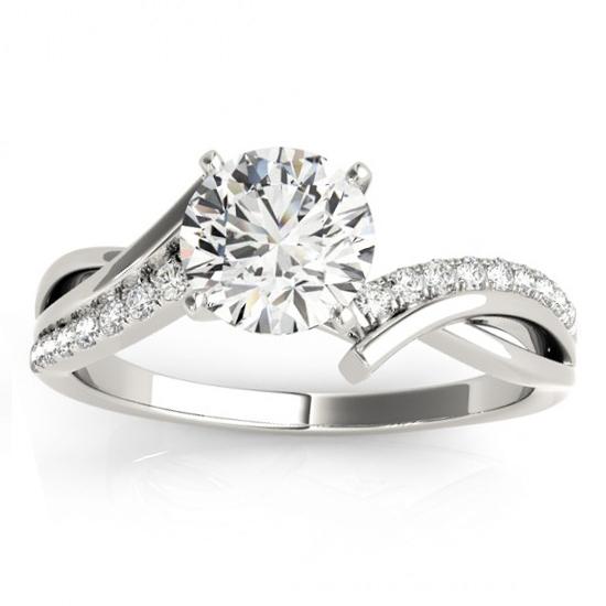 Diamond Twist Bypass Engagement Ring Setting Palladium (0.09ct)