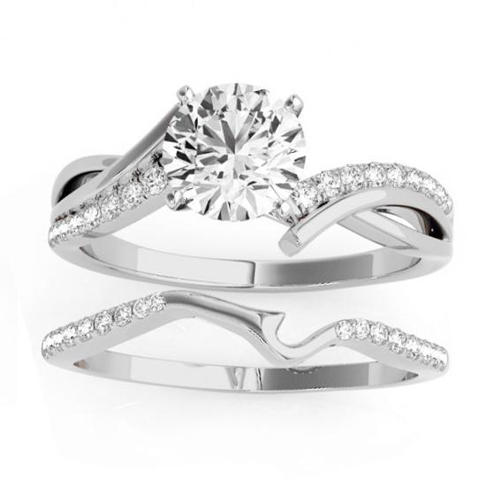 Diamond Twist Bypass Bridal Set Setting 14k White Gold (0.17ct)