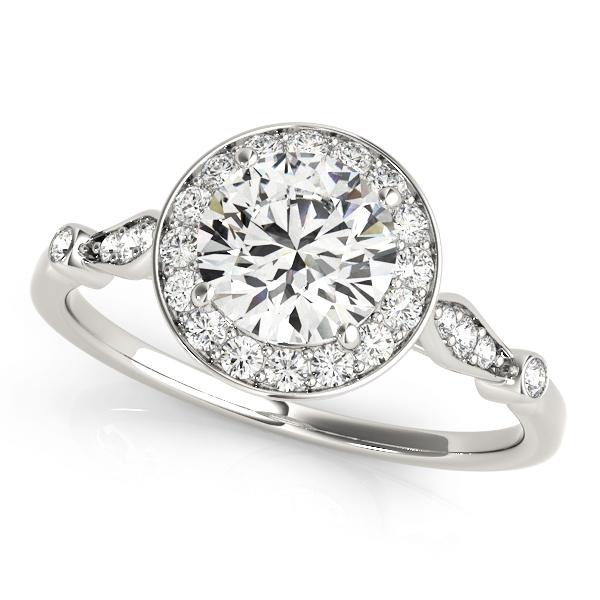 Round Diamond Halo Engagement Ring 18k White Gold (1.17ct)