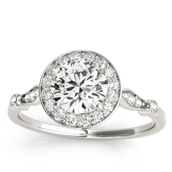 Halo Diamond Accent Engagement Ring Setting 14k White Gold (0.17ct)