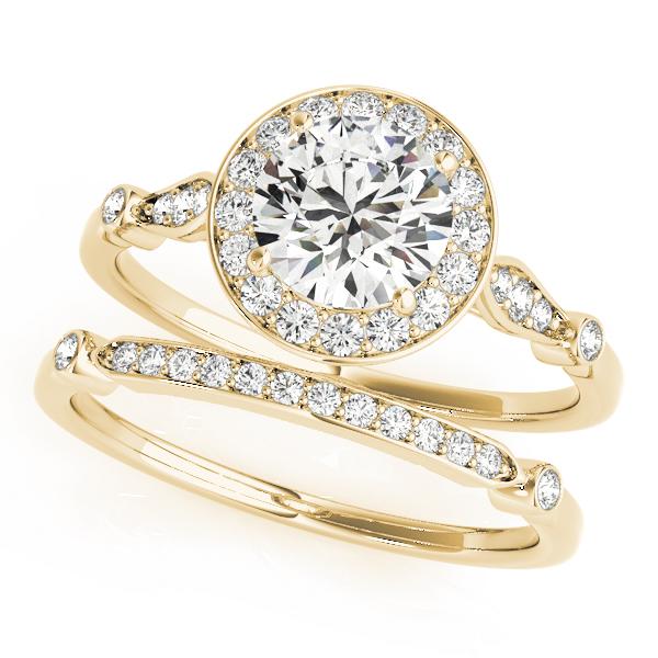 Diamond Halo Engagement Ring & Wedding Band 18k Yellow Gold (1.25ct)