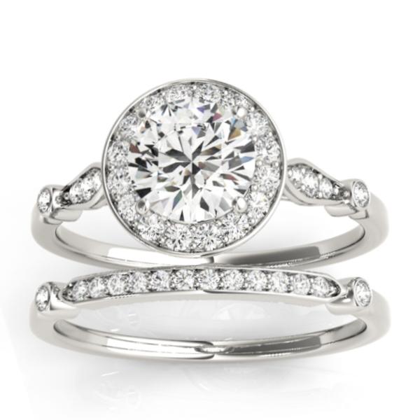 Halo Diamond Accented Bridal Set Setting 14k White Gold (0.25ct)