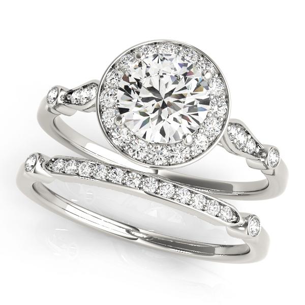 Diamond Halo Engagement Ring & Wedding Band Platinum (1.25ct)