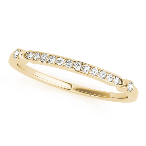 French Pave Diamond Wedding Ring Band 18k Yellow Gold (0.08)