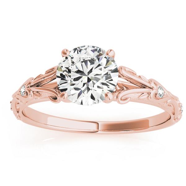 Diamond Antique Style Engagement Ring 14k Rose Gold 0 03ct Allurez