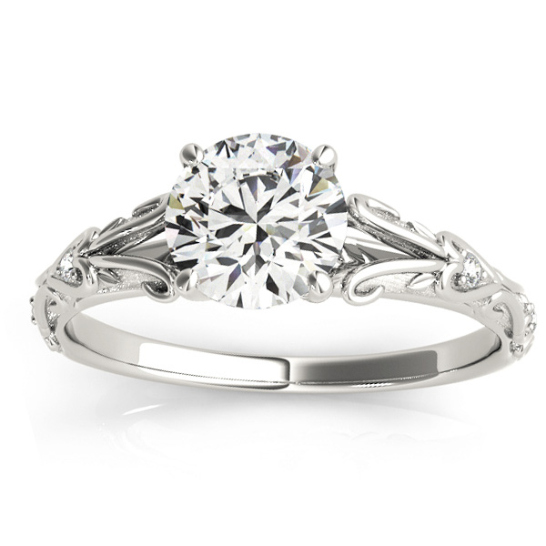 Diamond Antique Style Engagement Ring 18k White Gold (0.03ct)