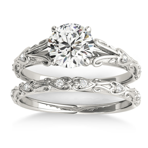 Diamond Antique Style Bridal Set 14k White Gold (0.07ct)