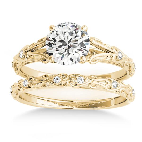 Diamond Antique Style Bridal Set 18k Yellow Gold (0.07ct)