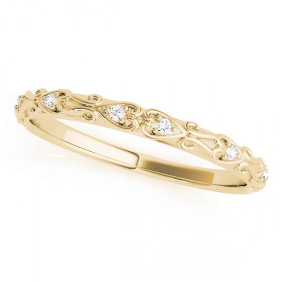 Diamond Antique Style Wedding Band 14k Yellow Gold (0.04ct)