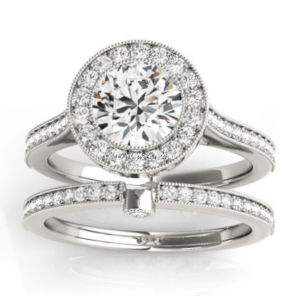 Diamond Accented Bridal Set Setting 14k White Gold (0.47ct)