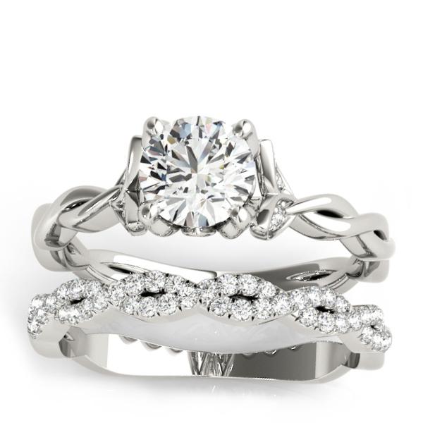 Infinity Leaf Bridal Ring Set 14k White Gold (0.32ct)