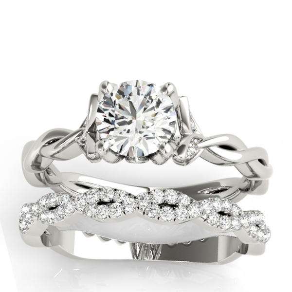 Infinity Leaf Bridal Ring Set Platinum (0.32ct)