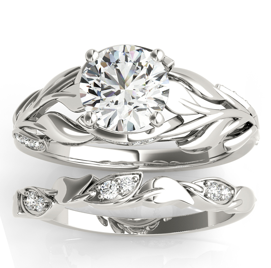 Nature-Inspired Diamond Leaf Bridal Set Setting Palladium (0.19ct)