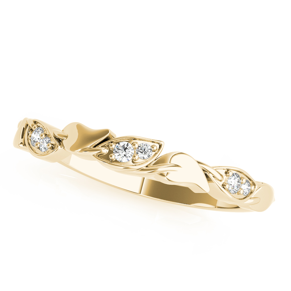 Nature-Inspired Diamond Leaf Wedding Band  14k Yellow Gold (0.03ct)