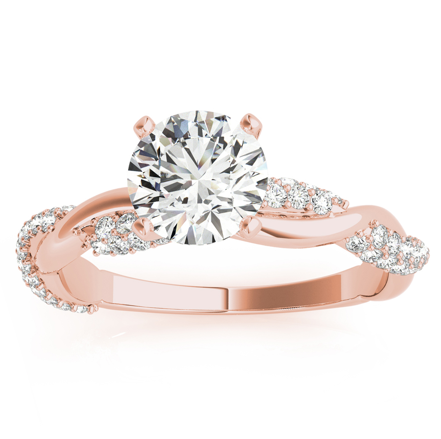 Infinity Twist Diamond Engagement Ring Setting 14k Rose Gold (0.40ct)
