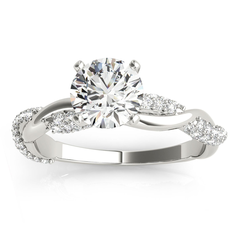 Infinity Twist Diamond Engagement Ring Setting 14k White Gold (0.40ct)