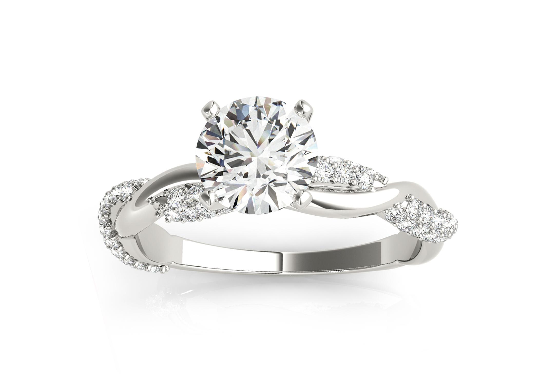 Infinity Twist Diamond Engagement Ring Setting 18k White Gold (0.40ct)
