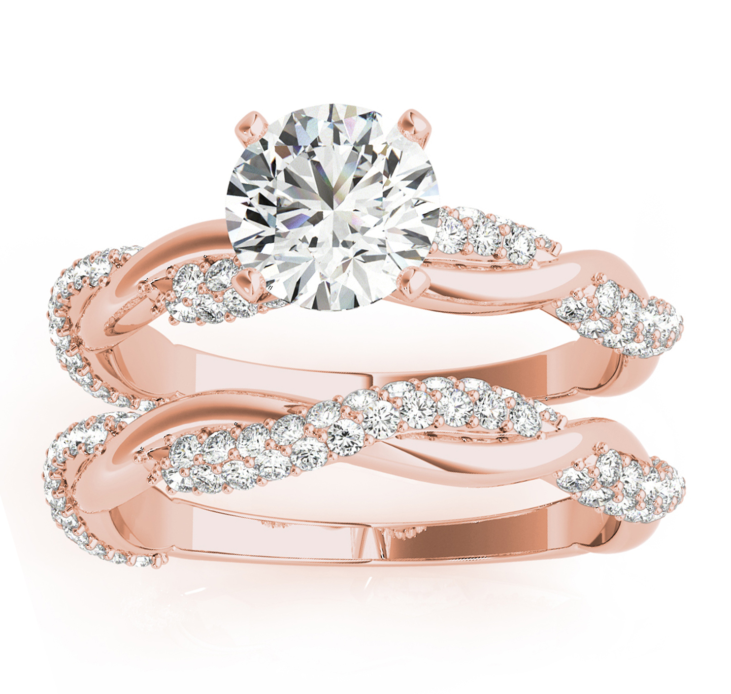 Infinity Twist Diamond Bridal Ring Set Setting 14k Rose Gold (0.80 ct)