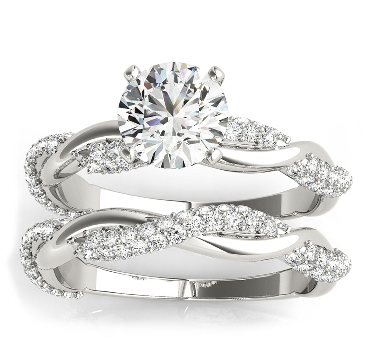 Infinity Twist Diamond Bridal Ring Set Setting 14k White Gold (0.80 ct)