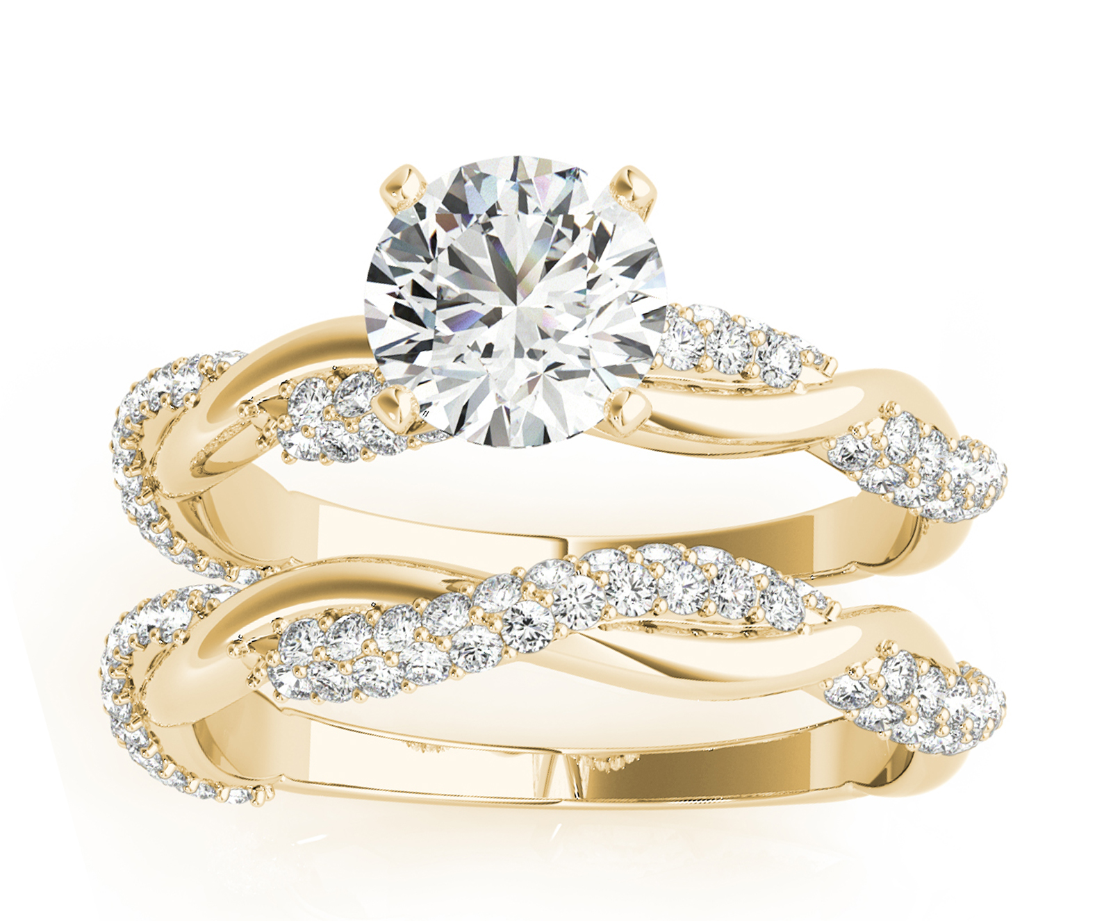 Infinity Twist Diamond Bridal Ring Set Setting 18k Yellow Gold (0.80ct)