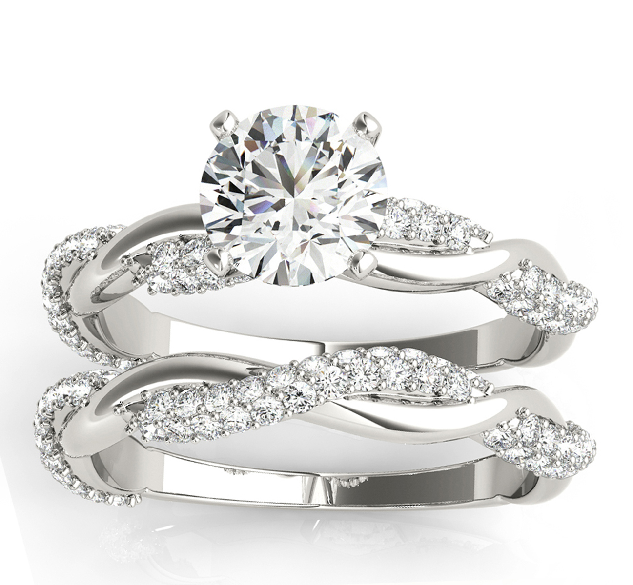 Infinity Twist Diamond Bridal Ring Set Setting Palladium (0.80 ct)