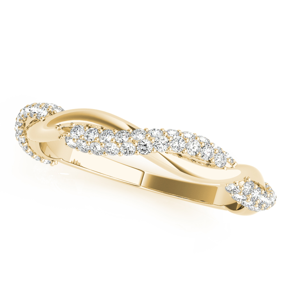 Infinity Twist Diamond Wedding Ring Band 18k Yellow Gold (0.40 ct)