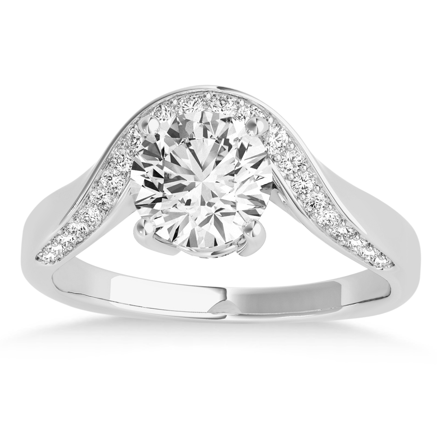 Diamond Euro Shank Curved Engagement Ring in 14k White Gold (0.16ct)