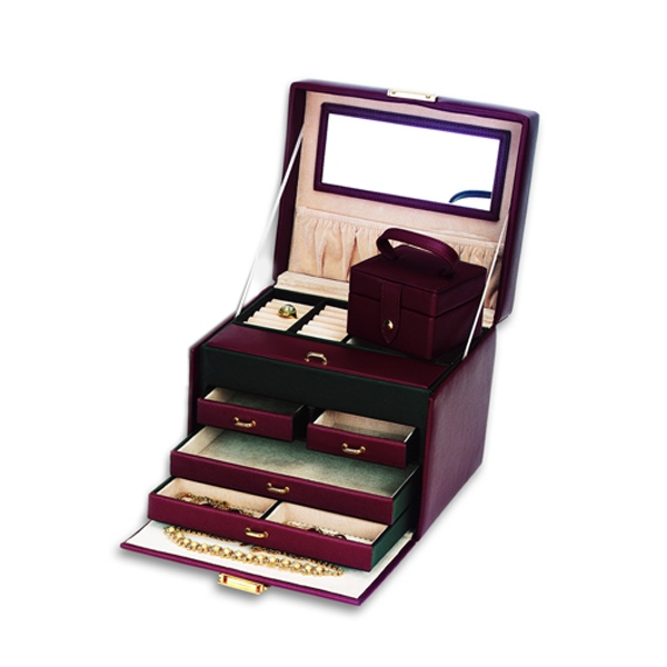 Genuine Brown Leather  4 Drawer Jewelry Box w/ Travel Box